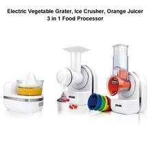 Electric Vegetable Grater Ice Crusher Orange Juicer 3 in 1 Food Processor with 5 Cone Blade Mandoline Slicer Kitchen Appliances