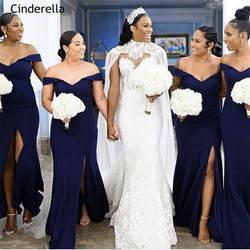 Золушка темно-синего цвета с открытыми плечами развертки Поезд с Боковым Разрезом атласное платье подружки невесты в стиле русалки