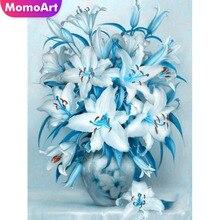 MomoArt 5d Diamond Painting Flowers Diy Embroidery Vase Full Drill Square Rhinestone Home Decoration