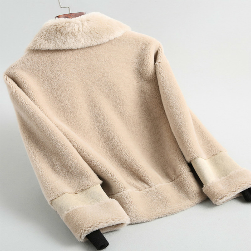 Fashion 2020 Winter Autumn Real Lamb Ful Coat Female Korean Casual Elegant Jacket Natural Ful Coat Women Blue Abrigo Mujer 19004