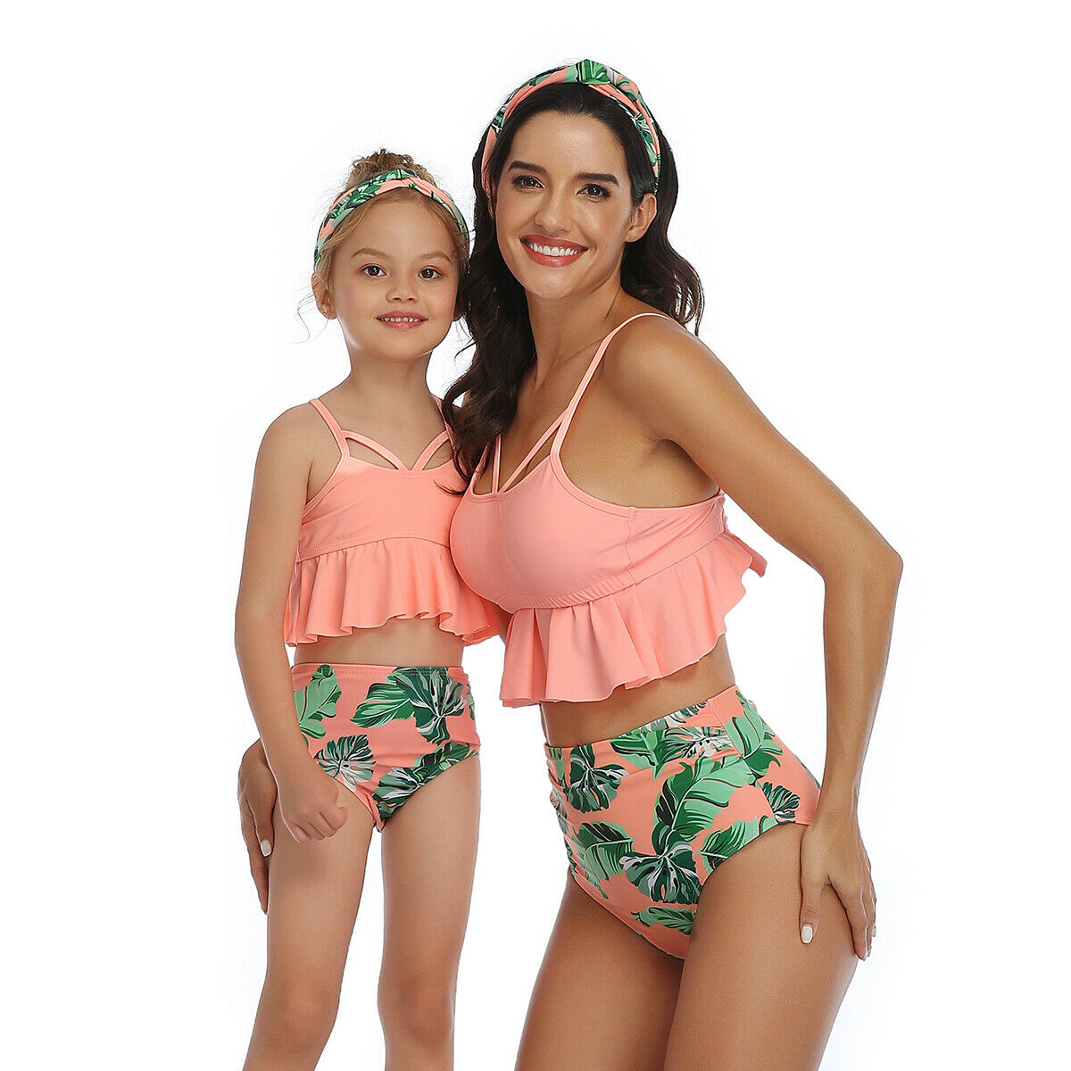 Mommy And Me Swimsuit Mother And Daughter Swimsuit Swimwear Bikini 2020 Summer Family Matching Outfits Swimsuit High Waist