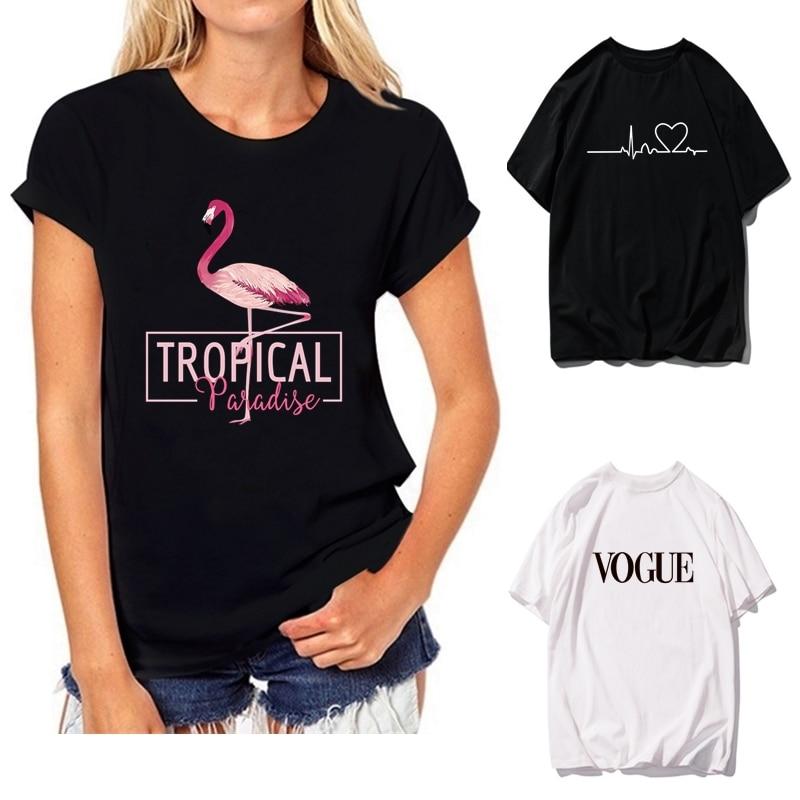2019 NEW Summer T Shirts Womens Tshirts Female Girls Tops Tees T-Shirts Slim Womans Flamingo Letter White Black Short Sleeve