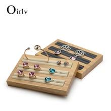 Oirlv Cream-white&Dark gray Soild Wood Jewelry Display Rack For Rings Earrings Bangle Holder Jewellery Display Stand
