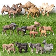 Realistic Plástico Estatueta Fazenda Mundo Equus kiang,Poitou burro, Camelo, gnus Coleção Figurine Educacional para Crianças