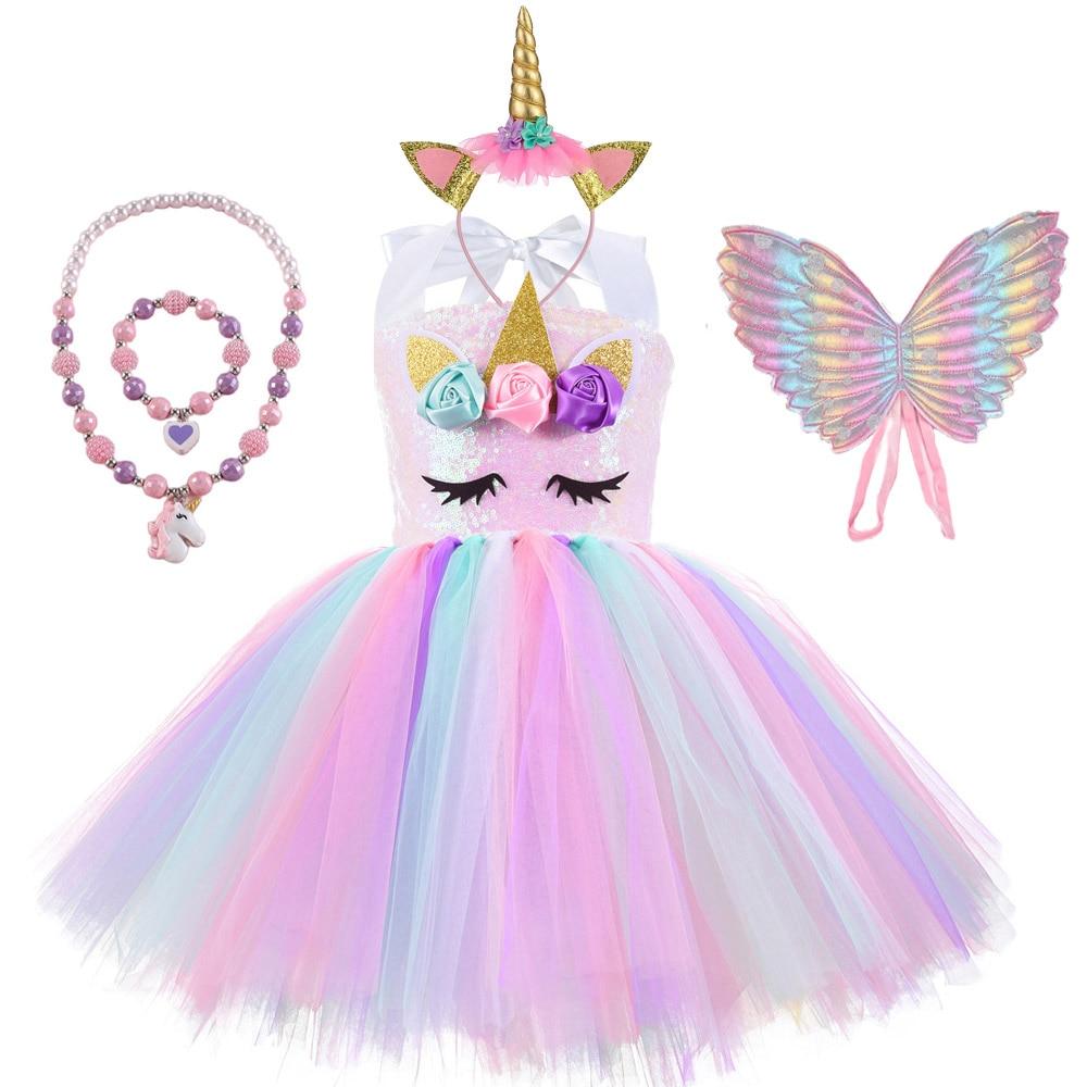 Children Cosplay Costume Unicorn Birthday PartyTutu Dress for Girls Sequin Top Pastel Clothing Kids Pink Vestidos 2 To 10 Year