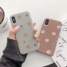 Cartoon Bear Pig Couples Matte Soft Phone Case For iPhone 11 Pro Max Silicone Back Cover for iPhone X XR XS Max 8 7 6 6S Plus(China)