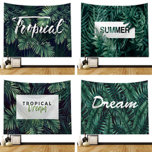 Tapestry Blanket Background Cloth Wall-Hanging Plant-Printing Home-Decor Green Beach