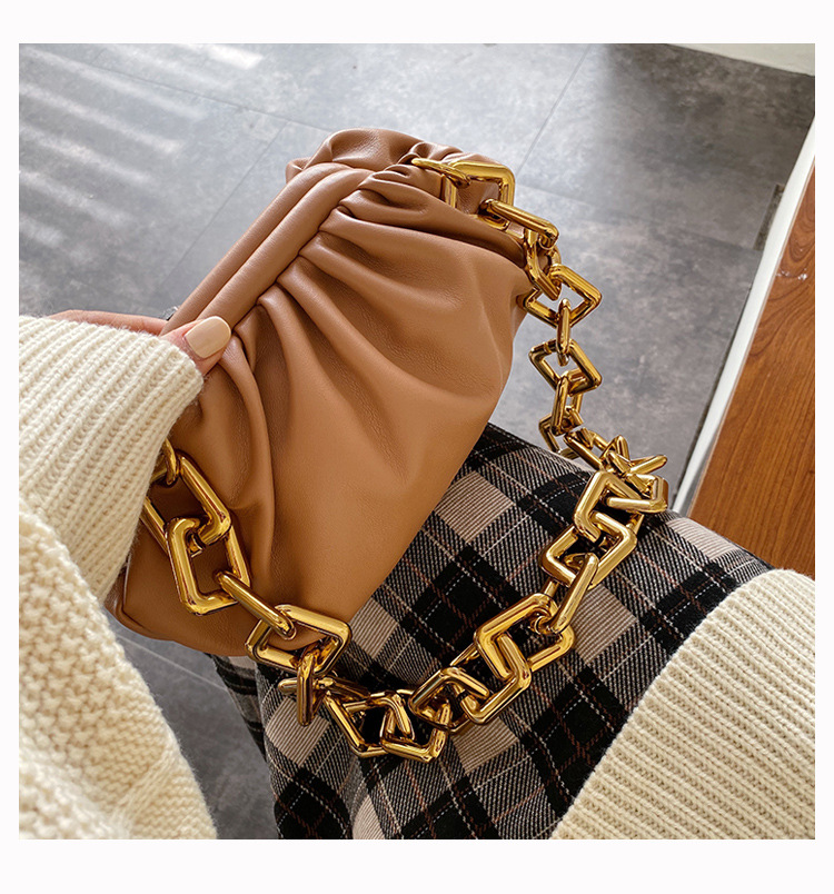 H9979a71764e149c9885c16efa09a5dcc1 - Women's Personality Thick Chain Soft Leather Cloud Bag Casual Wild Shoulder Bag Party Evening Clutch Bag Fashion Dumplings Bag