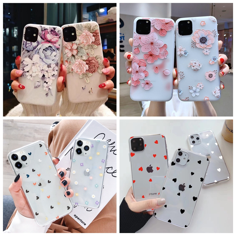 3D Floral Soft Case For Samsung A51 A71 A50 A30 A10 A20 A50S A70 A7 2018 S20 Ultra S10 Plus Flower Silicone Cover Protector