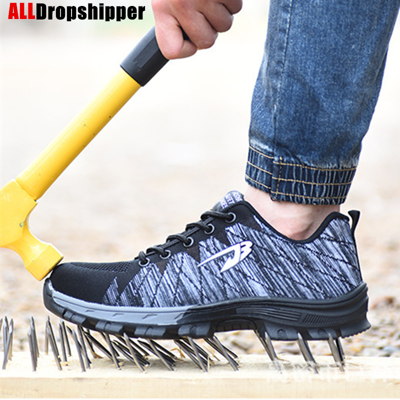 Men And Women Safety Boots Men's Breathable Shoes Steel Toe Puncture-Proof Workers Sneakers Work Protective Shoes Women's Shoes