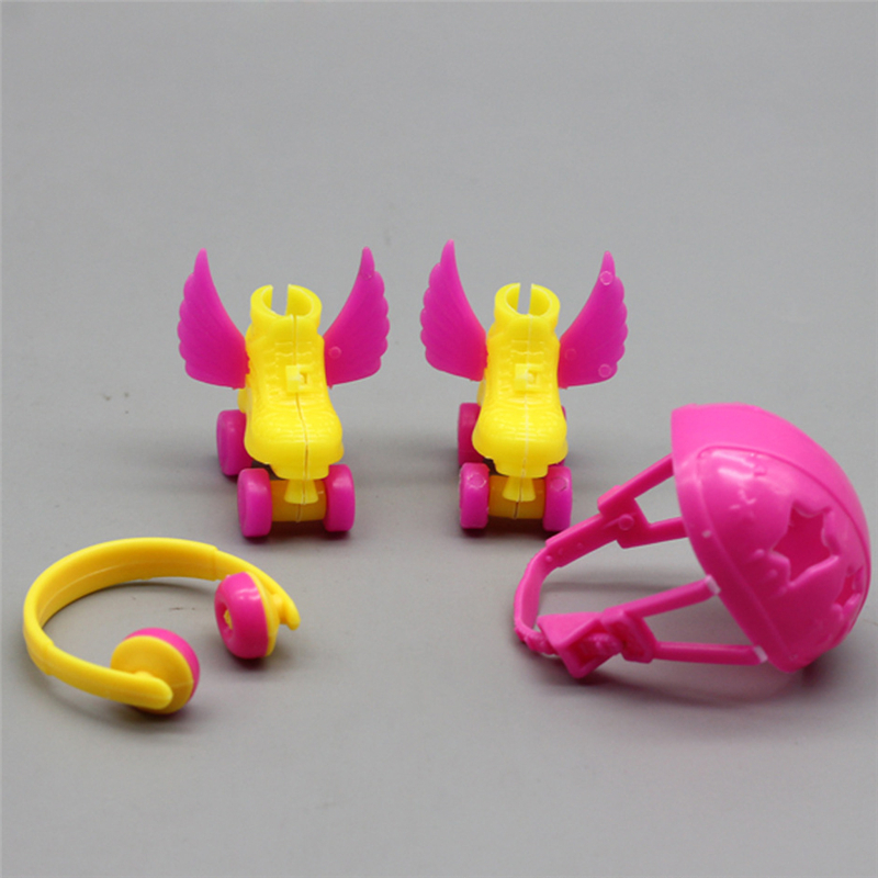 New 4PCS/Set Decorative Roller Skate Fancy Doll Shoes Headset Helmet For Barbie Kids Girls Toy Roller Play Girls Gifts