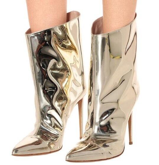 Livraison directe or clair en cuir verni femme miroir bout pointu talons fins mi-mollet bottes courtes talons Sexy Plus chaussons dame