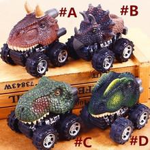Gorąca sprzedaż Mini dinozaur Model samochodu zabawki dla dzieci dinozaur samochód z napędem Pull back zabawki Tyrannosaurus samochodu zabawki figurki akcji boże narodzenie prezenty tanie tanio RUBBER CN (pochodzenie) 5-7 lat Cywilnej statek G955