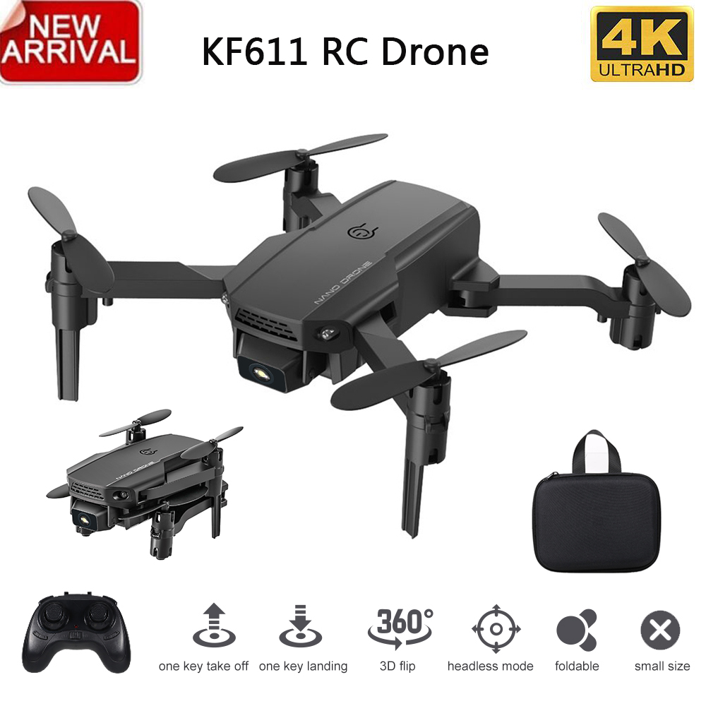 KF611 Mini Drone With 4K HD Camera 1080P WiFi FPV RC Drone Foldable Drone Altitude Hold Flight time 10min RC Quadcopter for Kid