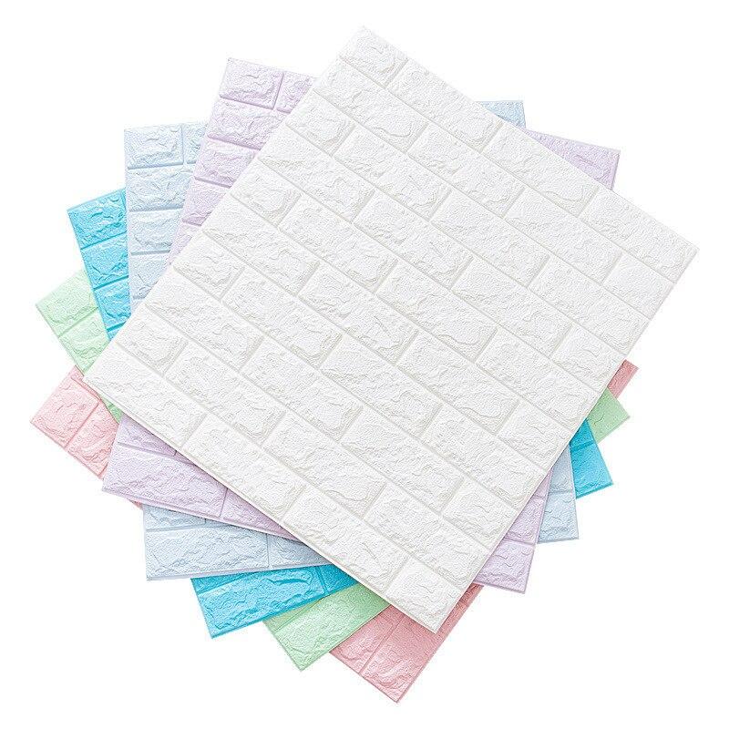 70x77cm PE Foam 3D White Brick Wall Wallpaper DIY Self Adhesive Stickers Waterproof  Home Improvement Wall Decor