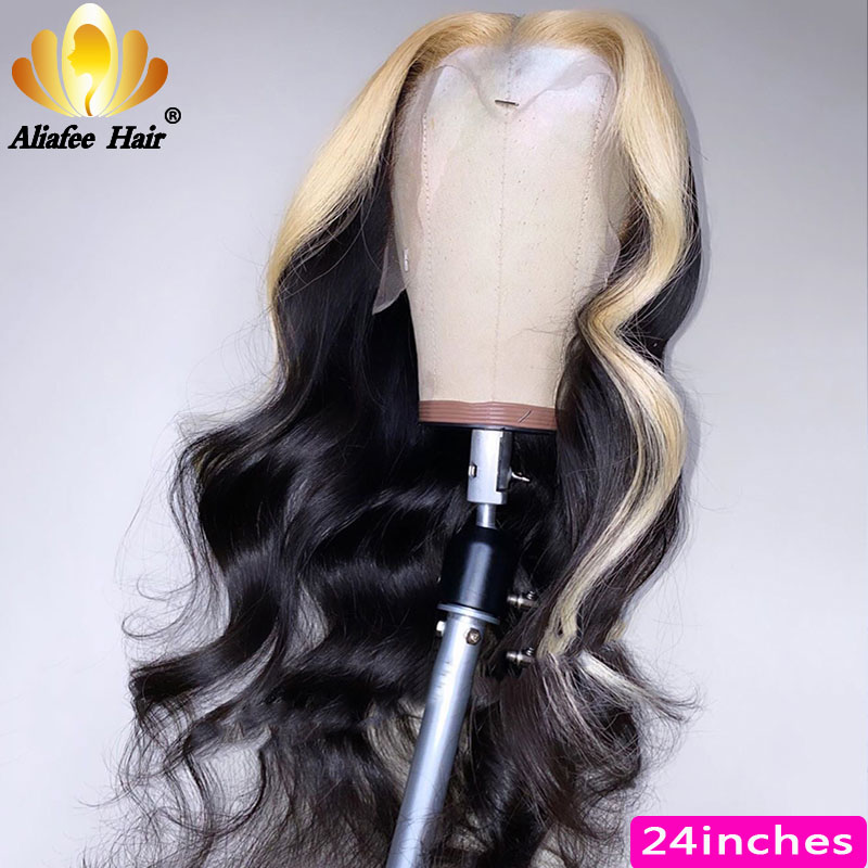 Aliafee 150% Human Hair Wig Brazilian Remy Body Wave Natural Color 13*4 Lace Front Wig Blonde Wig With Baby Hair For Black Women