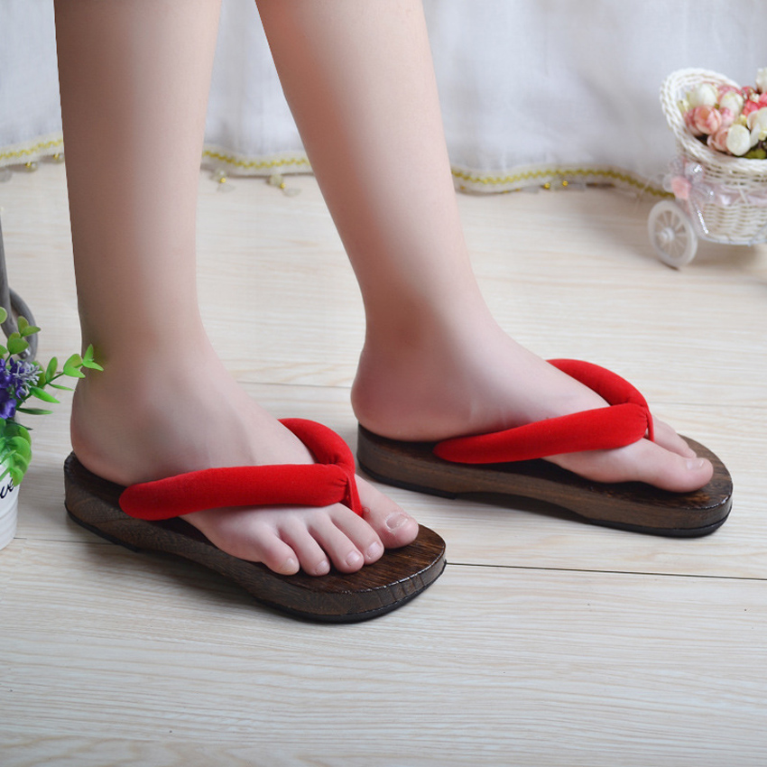 Woman Japanese Traditional Geta Clogs Slippers Wooden Shoes For Man Outdoor Home Wear Bath Sandals Round Toe Flats