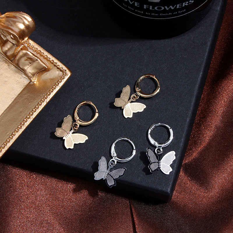 Flatfoosie Hàn Quốc Acrylic Bướm Lớn Đôi Khuyên Tai Vòng Cho Nữ Vòng Tròn Thời Trang Vàng Bạc Màu Sắc Dễ Thương Mặt Dây Chuyền Bông Tai Trang Sức