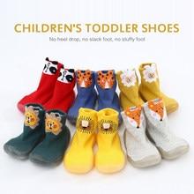 Meias do bebê com solas de borracha infantil meia recém-nascido outono inverno crianças piso meias sapatos anti deslizamento sola macia