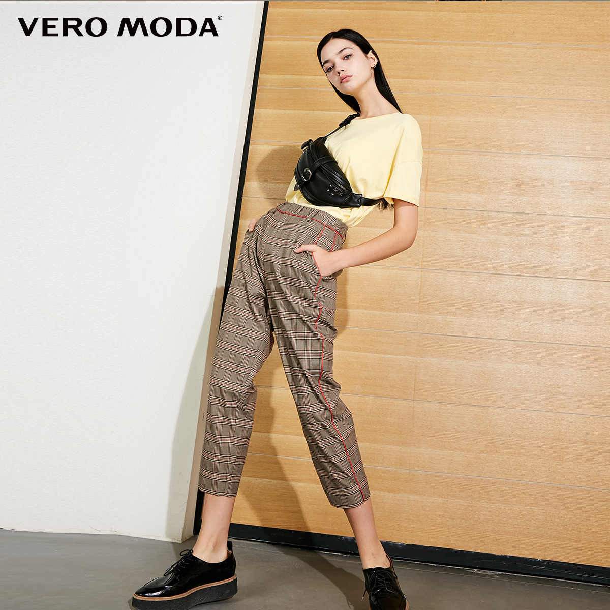 Vero Moda 2019 New Arrivals Women's Mid Waist Plaid Casual Crop Pants | 318450511