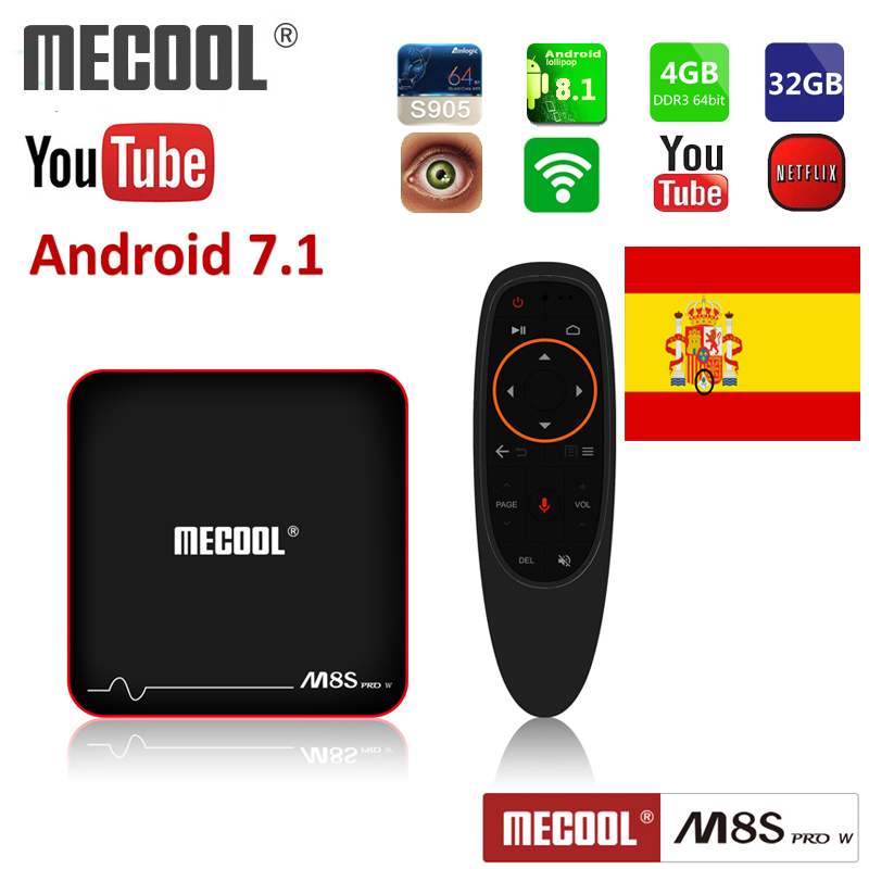 Mecool Android 7.1 TV Box M8S PRO W voice control support Ships locally in Spain 4K 8/16GB Media Player iptv Smart TV Box
