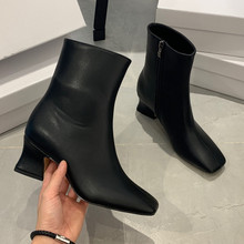 2019 autumn and winter new high-heeled women's boots Black, white high heel women Fashion chunky ankle boots Female ankle boots boty obuv topuklu bot