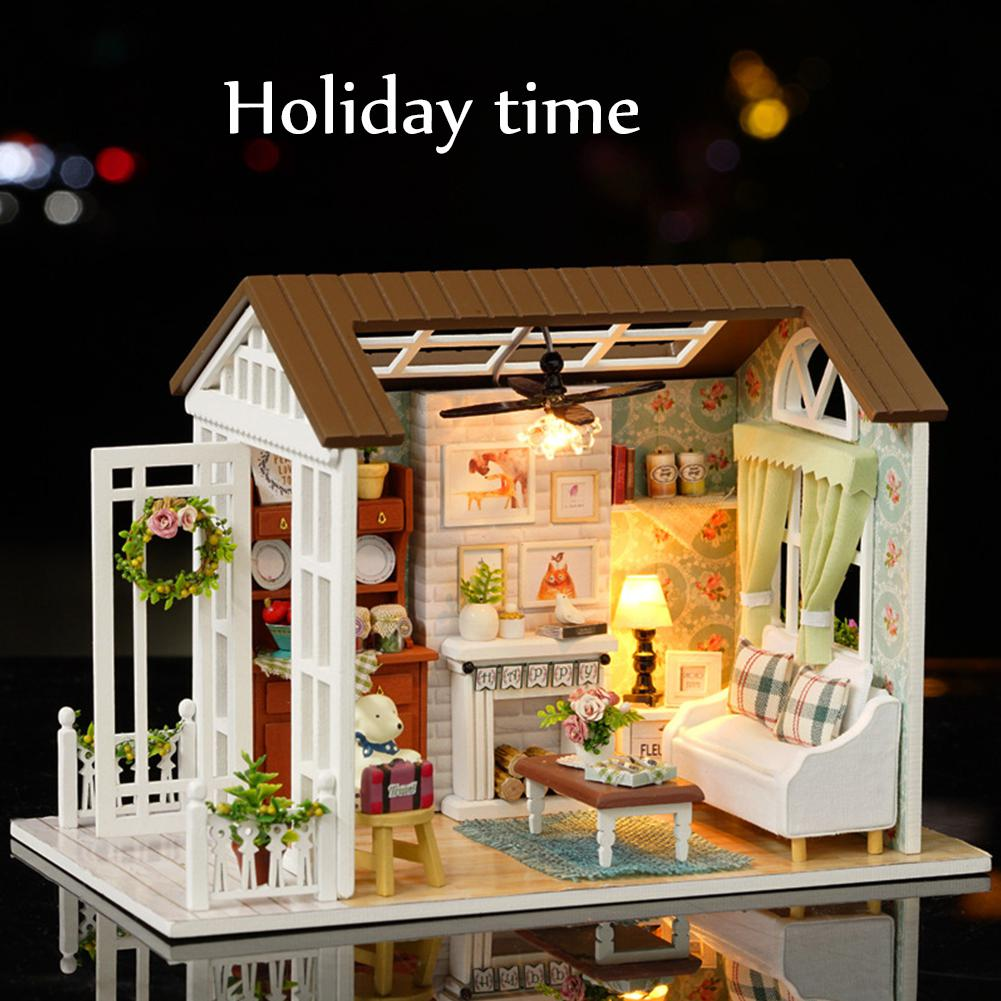 None Kids DIY Miniature Dollhouse Model Wooden Toy Set Dolls Houses Toys Birthday Gift