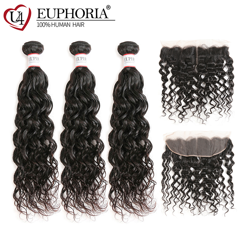 Water Wave Human Hair Bundles With Lace Frontal EUPHORIA Natural Color Brazilian 100% Remy Hair Weaves 3 Bundles With Closures