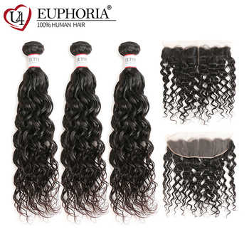 Water Wave Human Hair Bundles With Lace Frontal EUPHORIA Natural Color Brazilian 100% Remy Hair Weaves 3 Bundles With Closures - DISCOUNT ITEM  39% OFF All Category