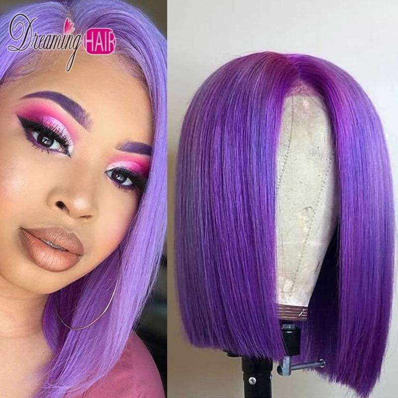 purple lace bob wig