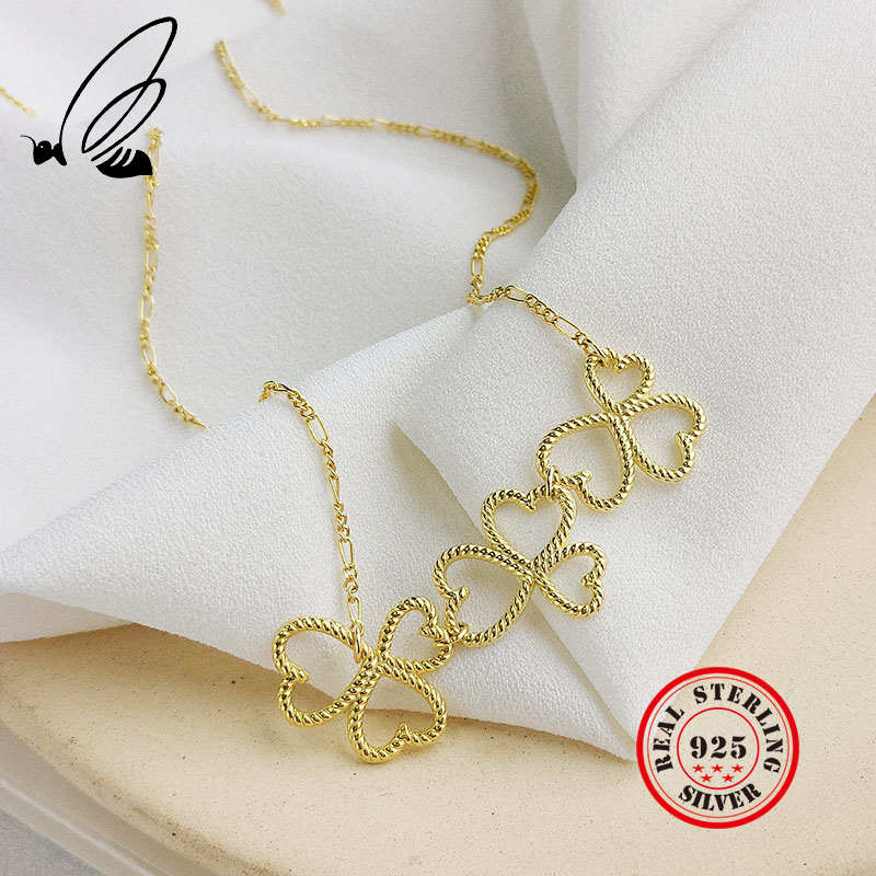 Clover Weave Necklaces Pendants 925 Sterling Silver Heart Gold Chain Bohemian Couple Collar Largo For Women Accessories Joyas