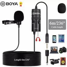 BOYA BY M1 Pro Lavalier 마이크 iPhone 안드로이드 스마트 폰용 10dB 패드 스위치 Canon Nikon DSLR 카메라 오디오 레코더 PC Mic