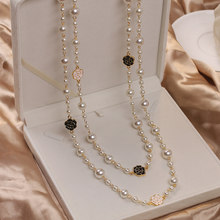 Luxury Camellia Multilayer Long Pearl Necklace Brand Design Rose Flower Sweater Chain Necklace for Woman