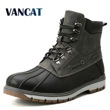 Brand Winter Men's Boots Thick Plush Warm Snow Boots Lace-UP Men Ankle Boots Outdoor Waterproof Men's Motorcycle Boots 38-47