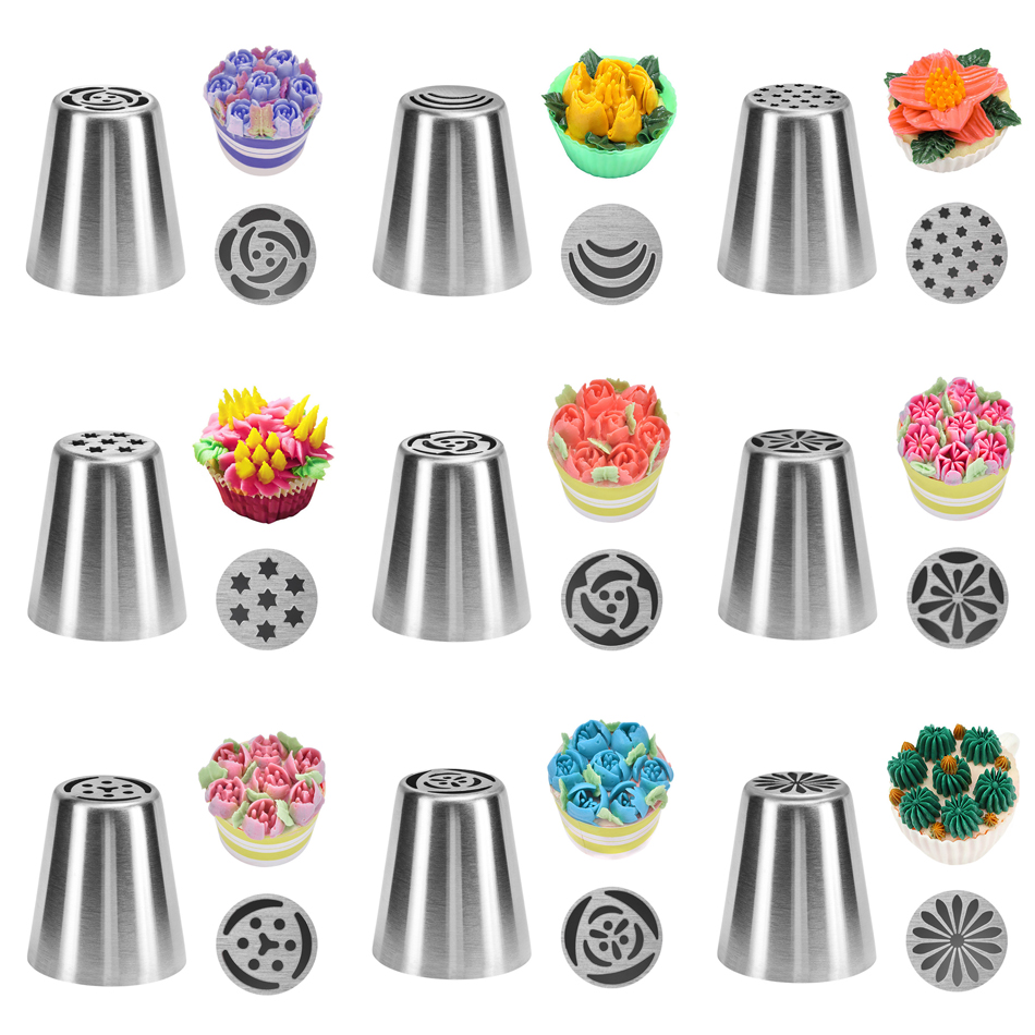 Russian Tulip Icing Piping Nozzles Stainless Steel Flower Cream Pastry Tips Nozzles Bag Cupcake Cake Decorating Tools