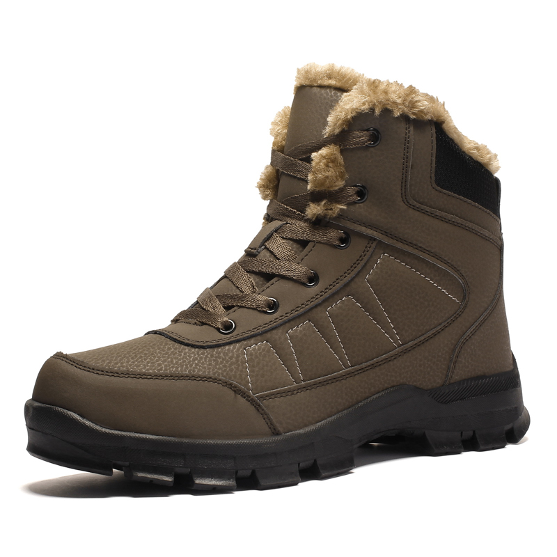 Brand Winter Men Non-slip Working Boots Plush Keep Warm Waterproof Plus Fur Snow Boots Men Sneakers Shoes