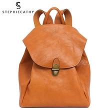 SC Retro Flap Backpack For Women Genuine Leather Shoulder Bag Female Real Leather Large Travel Laptop Bag School Casual Knapsack