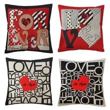 45x45cm Love Heart Printed Sofa Cushion Cover Cotton Linen Throw Pillow Case Wedding Party Decor linen seat cushion merry christmas pillow cover