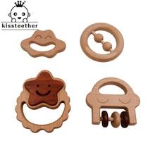 Organic Baby Teething Product Beech Wooden Rattle Teether DI