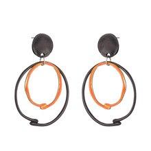 ZWPON Two-Tone Geometric Circle Hollow Zinc Allor Drop Earrings 2020 Fashion Circle Alloy Drop Earrings for Woman Jewelry two tone hollow face design drop earrings
