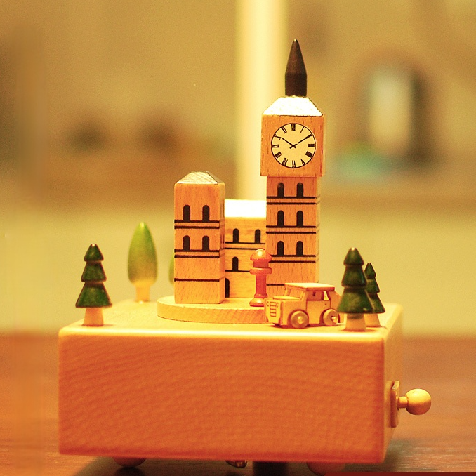 Wooden Clockwork Music Box Building Blocks Anime Song Music Box Carousel for Girlfriend Boite A Musique Home Decoration DK50MB