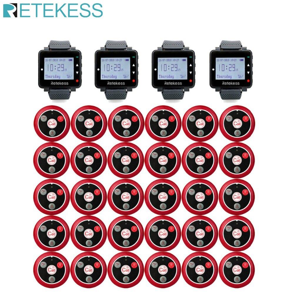 Retekess restaurante garçom sistema de chamada sem fio mesa sino pagers 4 relógio receptor + 30 chamada botão beepers serviço ao cliente