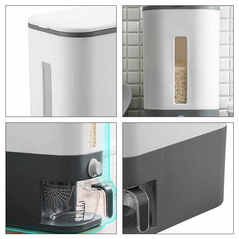 Automatic Plastic Grain Dispenser Storage Box Measuring Cup Kitchen Food Tank Rice Container Organizer Grain Storage Cans Case