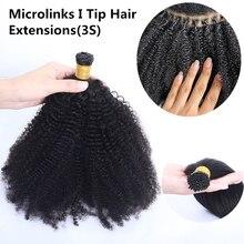 Human-Hair-Extensions Microlinks Curly Kinky Virgin-Hair Bulk Brazilian Afro 4C for Women