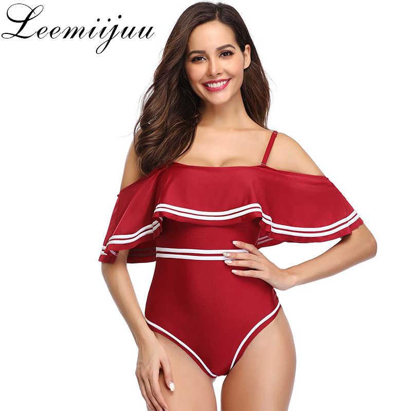 2019 nowy lato czarny biały, czerwony, granatowy, Ruffles strój kąpielowy kobiety w paski jeden kawałek jednolity Bikini Set Sexy strój kąpielowy z odsłoniętymi ramionami