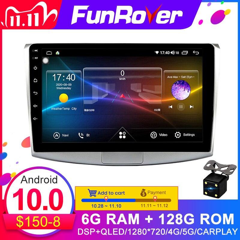 Funrover-Radio Multimedia con GPS para coche, Radio con reproductor DVD, Android 10,0, 2 Din, estéreo, 6GB de ROM, 128G, DSP, para VW, Volkswagen Passat B7, B6, CC