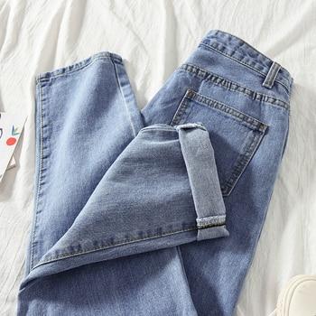 Jeans Women Straight Loose School High Waist Solid Simple Harajuku Womens Trousers Denim Korean Style All-match Females Fashion 6