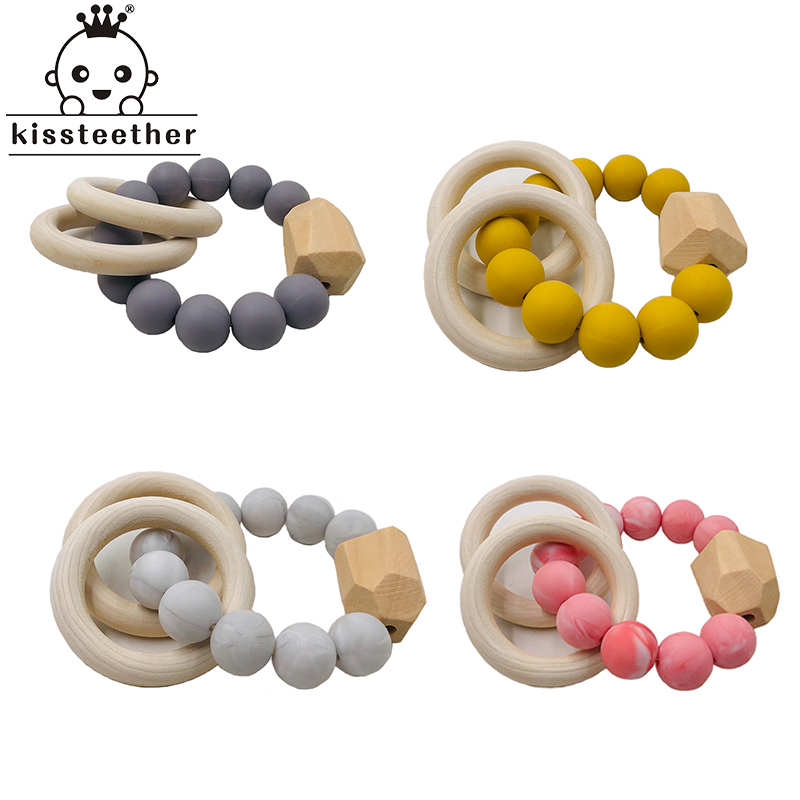 Baby Teether Bracelet Organic Wooden Ring Natural Teething Grasping Toy Silicone Bead Toddler Teether Newborn DIY Baby Gift