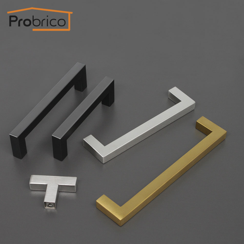 Probrico Black Cabinet Handle Gold Square Furniture Hardware Kitchen Door Knobs Stainless Steel Cupboard Wardrobe Drawer Pulls