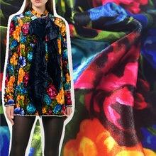 Kadife gül çiçek baskılı Polyester kumaş sonbahar ve kış İtalyan marka G moda giyim kumaş kumaşlar elbise dikiş